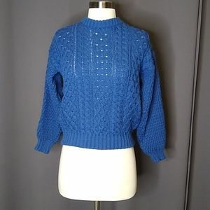 Vintage Blue Wool Cropped Cable Knit Sweater LG